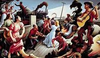 "Thomas Hart Benton's colorful six-by-ten foot mural from 1975 was commissioned by Nashville's Country Music Hall of Fame and Museum, with support from the NEA.  ""The Sources of Country Music"" portrays 17 nearly life-sized figures and illustrates the various cultural influences on country music, including a train, a steamboat, a black banjo player, country fiddlers and dulcimer players, hymn singers and square dancers.  The painting memorializes entertainer Tex Ritter as the singing cowboy on the"