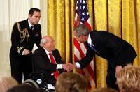 Financier, arts patron and philanthropist Roy Neuberger receiving the National Medal of Arts from US President George W.  Bush in 2007.  Neuberger gave much of his art collection to public institutions, including works by Milton Avery, Stuart Davis, Alexander Calder, Jackson Pollock, Georgia O'Keeffe and Edward Hopper.