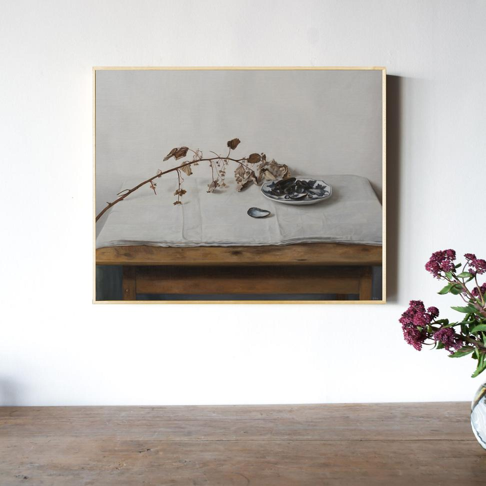 Synograph of Sarah Bird's painting Inkberry Holly.
