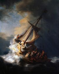 The Storm on the Sea of Galilee, from 1633, is the only seascape by the Dutch Golden Age painter Rembrandt van Rijn.  It was cut from its frame and stolen from the Isabella Stewart Gardner Museum in Boston, Massachusetts, in 1990.