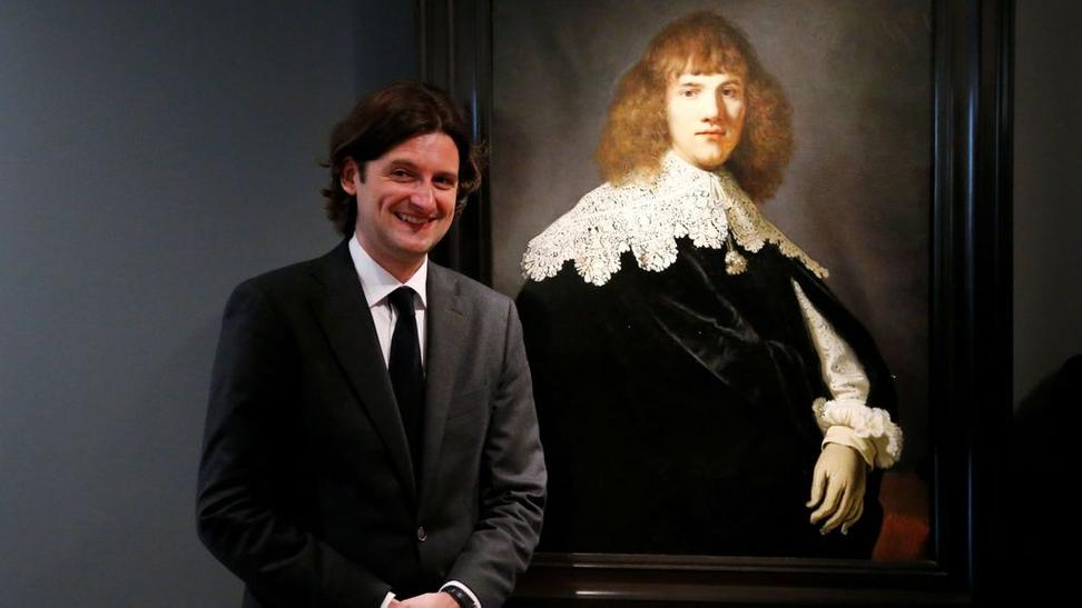 Jan Six with the rediscovered Rembrandt.