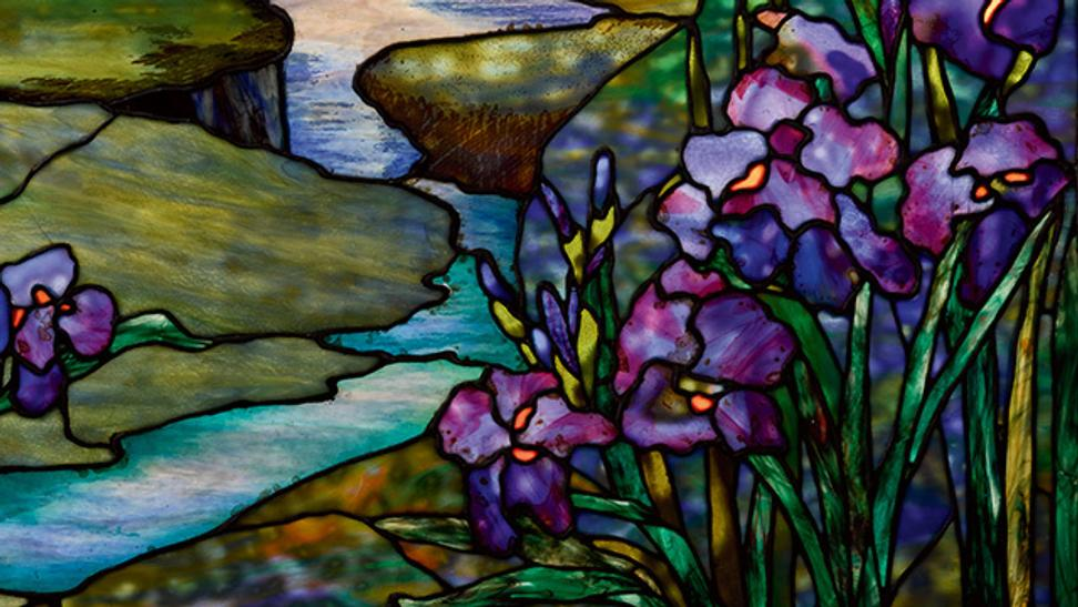 "Detail Tiffany ""River of Life"" Window that fetched $394,000 (estimate $200/300,000)."