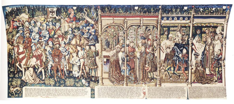 Rogier van der Weyden's Justice of Trajan and Herkinbald was destroyed in a fire in the late 17th century.  A 15th century tapestry that had copied part of its design is all that remains.