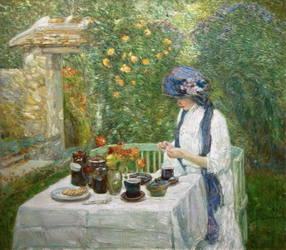 Frederick Childe Hassam (1859-1935), French Tea Garden (also known as The Terra-Cuite Tea Set), 1910, oil on canvas, signed and dated at lower right, 35 x 40-1/2 inches, Gift of the Benwood Foundation, 1976.3.13