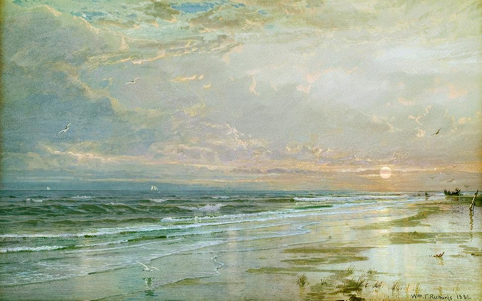 "From MME Fine Art, William Trost Richards ""Sunrise"" , 1881.  Gouache and watercolor on artist board, 10 9/16 x 16 7/16 inches.  Signed and dated"