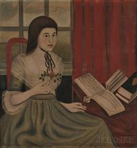 American School, 18th Century Portrait of Abigail Rose, North Branford, Connecticut, 1786, at the Age of Fourteen.  Unsigned.  Sold for $1.27 million at Skinner's in Boston on Nov.  5, 2011.