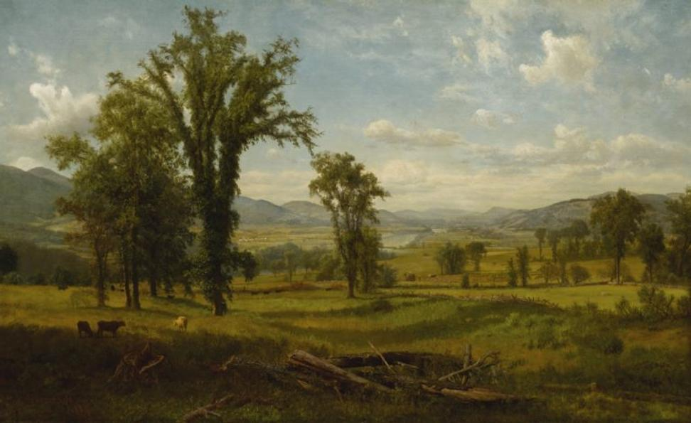 "From the Berkshire Museum, Albert Bierstadt's ""Connecticut River Valley, Claremont, New Hampshire ""(1868), which is estimated to sell for between $600,000 and $800,000 at Sotheby's."