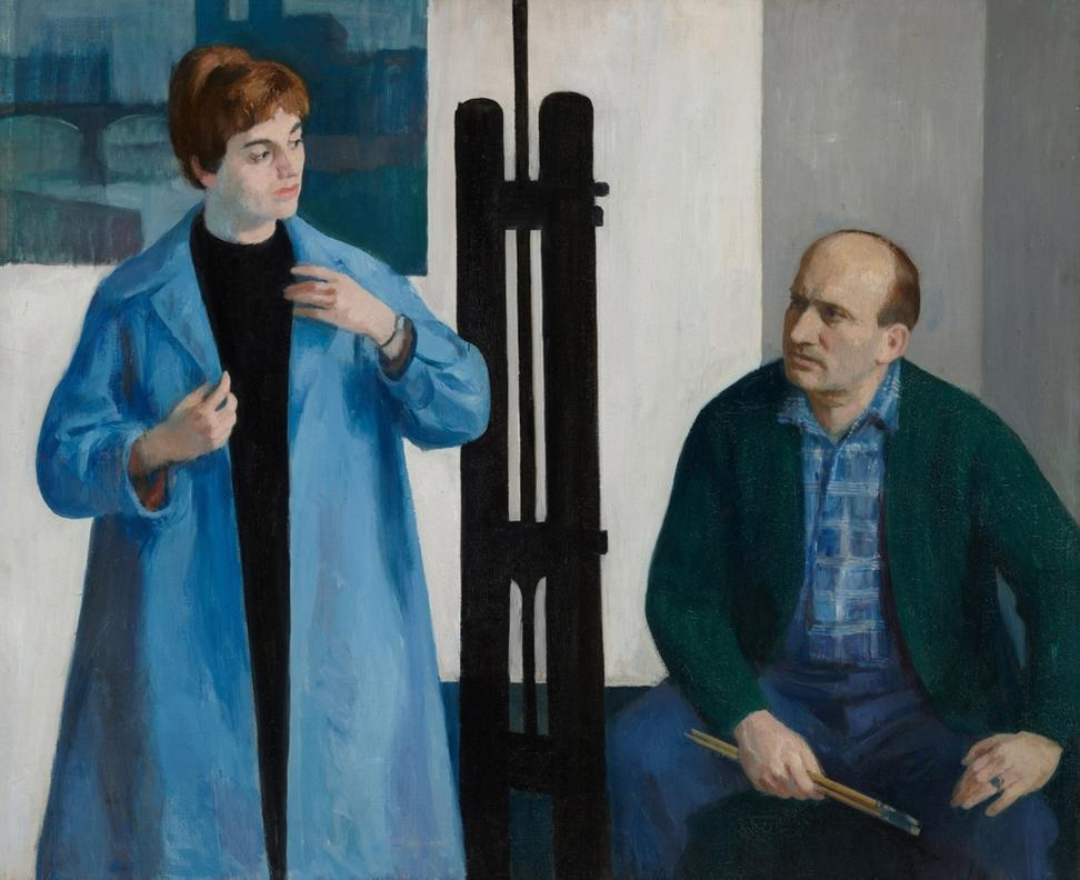 The Painter and His Model, 1956, by István Mácsa.  Oil on canvas.  Hungary.