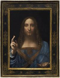 Leonardo da Vinci, Salvator Mundi, oil on panel.  25 7/8 x 18 in.  (65.7 x 45.7 cm.)