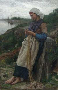 "Jules Breton's (1827-1906) ""A Fisherman's Daughter,"" 1876, oil on canvas, 100 x 70 cm, will return to Douai, France's Musée de la Chartreuse, on Oct.  13, 2011, after it was stolen by a German solider nearly 100 years ago."