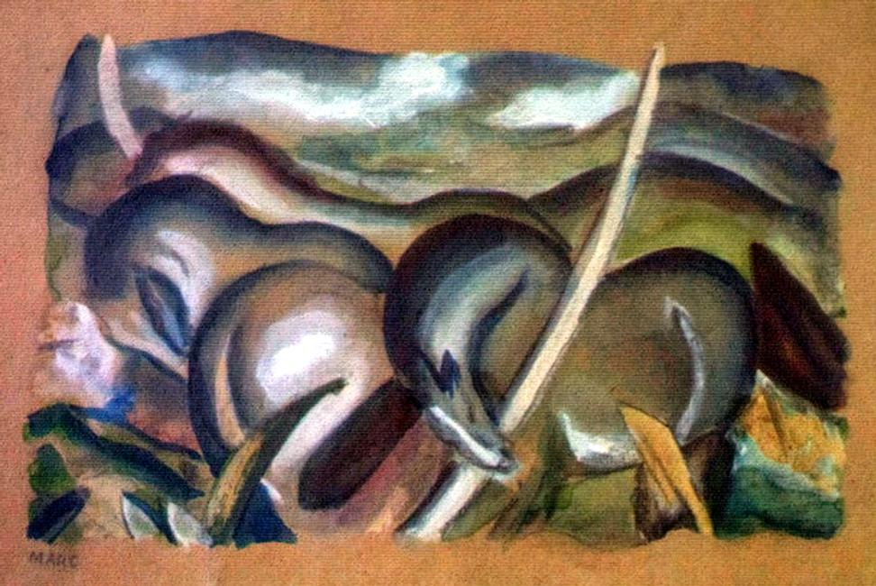 Franz Marc's Pferde in Landschaft, one of the artworks discovered in the Gurlitt collection (probably 1911, gouache on coloured paper).