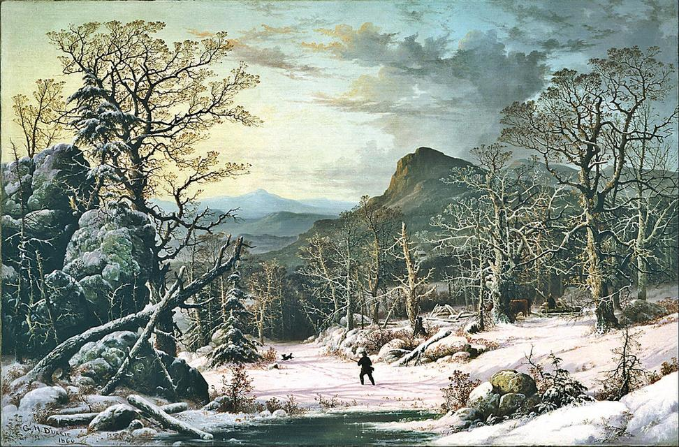 George Henry Durrie, Hunter in the Winter Wood, 1860.