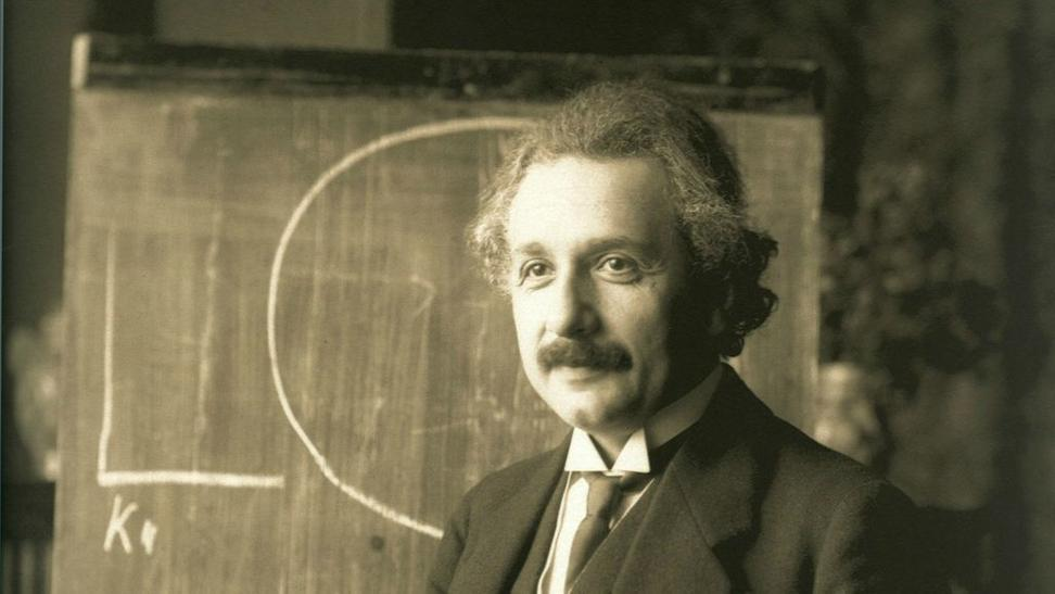 Albert Einstein, during a lecture in Vienna in 1921.