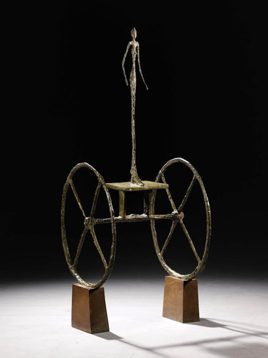 Alberto Giacometti, 'Chariot,' painted bronze on wooden base, cast in 1951-52.  Sold for $101 million.