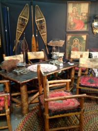 A genuine, mid-century, rustic dining table with six matching armchairs will be the centerpiece of the exhibition designed by David Allan Ramsay (Cape Porpoise, Maine) at the Adirondack Museum's Antiques Show and Sale, Saturday and Sunday, Sept.  19 and 20.