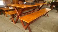 John Provo Rustic Antiques (Plymouth, Minn.) specializes in vintage indoor and outdoor furniture such as this table with benches and will dozens of pieces at the Adirondack Museum's Antiques Show and Sale, Saturday and Sunday, Sept.  19 and 20.
