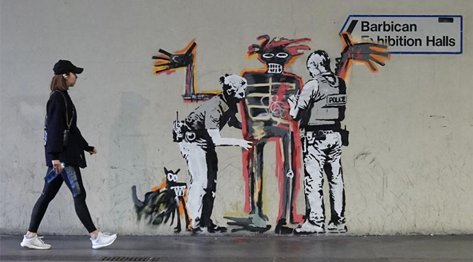 Banksy mural at the Barbican.