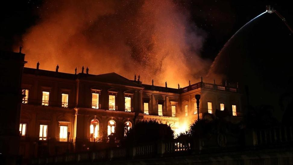 Screenshot from YouTube of the fire at Brazil's National Museum on Sept.  2, 2018.
