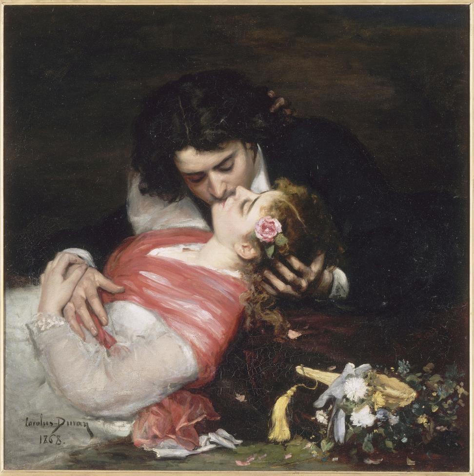 Carolus-Duran (Charles Durand), The Kiss, 1868.  Oil on canvas, 36 ¼ x 35 ¾ in.  (92 x 91 cm).  Palais des Beaux-Arts de Lille.