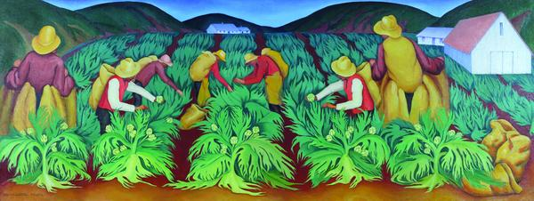 Artichoke Pickers mural by Henrietta Shore, 1934; c California State Parks