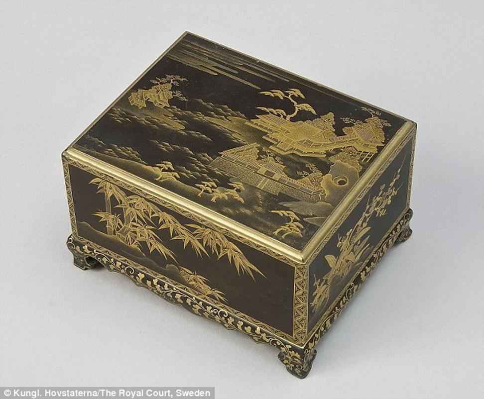 An 18th century lacquer box that was stolen from the Chinese Pavilion of the Swedish Royal Palace Drottningholm in 2010