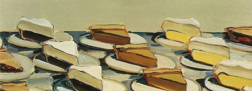 "Wayne Thiebaud, ""Pies, Pies, Pies,"" 1961.  Oil on canvas, 20 x 30 in (50.8 x 76.2 cm).  Art © Wayne Thiebaud/Licensed by VAGA, New York, NY"