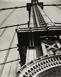 Berenice Abbott (1898–1991) Manhattan Bridge Looking Up, 1936.  Gelatin silver print.  The Art Institute of Chicago, Works Progress Administration Allocation, 1389.1943