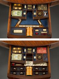 The Albemarle Club Games Table has six drawers revealing individual gaming stations.