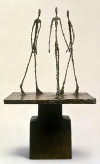 """Trois Hommes qui Marchent I"" by Alberto Giacometti is offered at $25 million by Landau Fine Art."