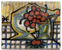 "Pablo Picasso, ""Still Life of Bowl of Cherries,"" offered by Bloomington Auction Gallery with online bidding through LiveAuctioneers."