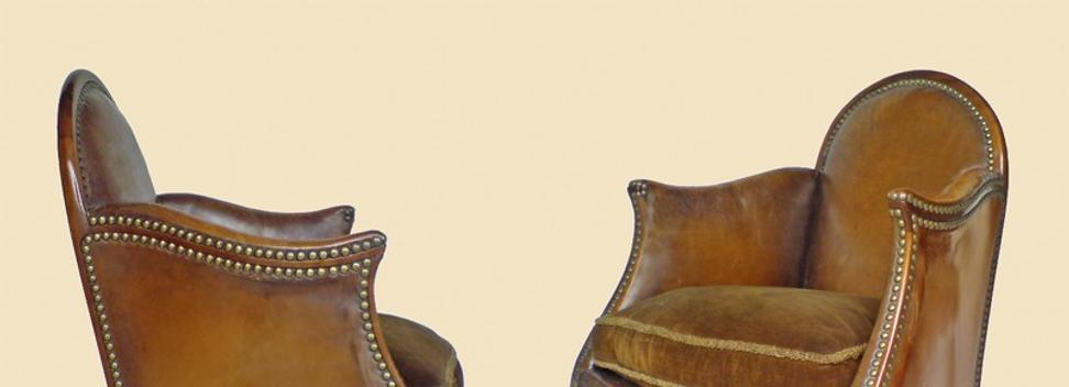 Paul Poiret, pair of mahogany 'bergère' armchairs, circa 1924, from Galerie Mathivet.