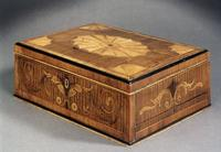 George III marquetry inlaid box.  Apter-Fredericks.