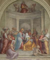 Pontormo, The Visitation, 1514-16 (after restoration).  Cloister of the Vows, Basilica of the Santissima Annunziata, Florence, Italy.  Courtesy of Friends of Florence.