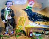 "James Martin's painting, ""Edgar Allan Poe Raven With Party Hat, Scotch Whiskey,"" features a large bird wearing a party hat and shoes, 16 by 14 inches."