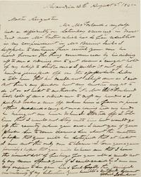 Lot 10: Letters concerning Gabriel Johnson, an enslaved man at Mount Vernon, to and from John Augustine Washington,1842-45.  Estimate $12,000 to $18,000.