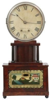 A rare Joseph Ives Brooklyn model wagon spring shelf clock ($12/15,000), circa 1825-1830, has its original 10 1/2 inch paper dial.