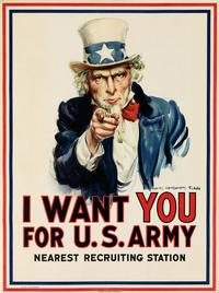 James Montgomery Flagg, I Want You For U.S.  Army, 1917.  Estimate $7,000 to $10,000.