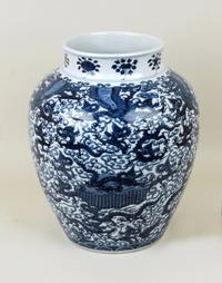 Large Chinese Blue and White Dragon Vase