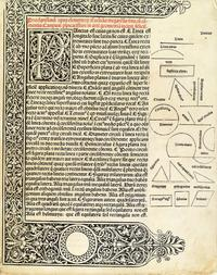 Euclid, Elementa geometriae, first edition, Venice, 1482.  Sold October 18, 2016 for $62,500.