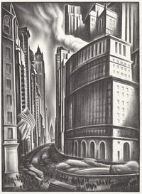 Howard Norton Cook, Looking up Broadway, 1937 lithograph.