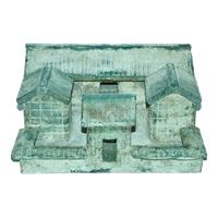 "Eastern Han blue-glass ritual model of a courtyard surrounded by four buildings with a front entrance.  12"" 5"".  Gianguan Auctions Lot 152, $400,000-$500,000."