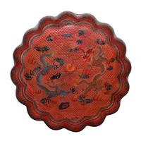 Cinnabar, 16-lobe box with cover.  Carved, pigmented dragons.  Qing.  Gianguan Auctions Lot 160.  Estimate: $8,000.