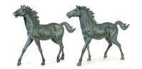 Monumental pair of bronze horses (estimate $1,500-2,500).  To sell April 3, 2015 at Garth's.