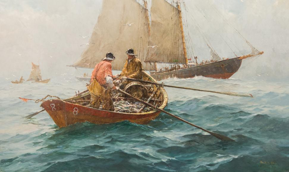 "LOT 170: JACK LORIMER GRAY, ""The Grand Banks"", oil on canvas, 30 x 50 in."