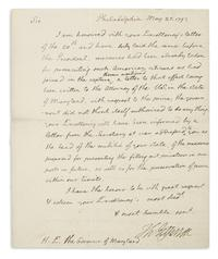 Lot 171: Thomas Jefferson, Autograph Letter Signed to MD Governor Thomas Sim Lee, stating that the government is not authorized to intervene during the Citizen Genêt affair, 1793.  Estimate $20,000 to $30,000.