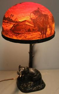 Fine Signed Cameo Glass Shade and Bronze Lamp