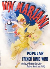 Jules Cheret, Vin Mariani, 1894.  The carefree pleasures of the Belle Epoch are expressed perfectly in this poster for a tonic wine spiked with cocaine.  Cheret was the father of the color lithographic poster, perfecting the printing process that allowed for rich, vibrant color posters.