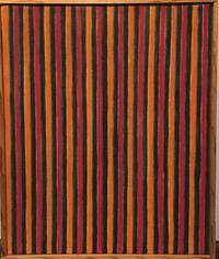 "Lot 1J: Artist: Gene Davis Title: Black-Red-Orange Date: 1958 Medium: Oil on canvas Size: 12 1/4"" × 10"" inches (31.1 × 25.4 cm) ESTIMATE: $25,000-35,000"