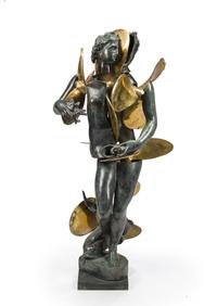 Lot 1M: Artist: Arman (1928-2005) Title: Untitled (Amphitrite with propellors) Medium: Cast bronze Size: 42 x 24 x 16in Date: 1990 Notes: incised signature and numbered I/IV on the base (a proof aside from the edition of 8).  ESTIMATE: $9,000-12,000