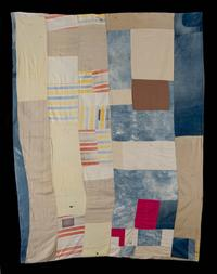 Double-Sided Work-Clothes Quilt Susana Allen Hunter (1912–2005) Wilcox County or Dallas County, Alabama, 1960–1970 Cotton, wool, synthetics Museum Purchase, Dr.  and Mrs.  T.  Marshall Hahn Jr.  Fund, 2013.609.2